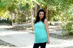 Perfect mint/aqua sleeveless maternity blouse for Spring and Summer from Heritwine Maternity. $24.99