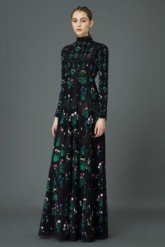 Valentino Pre-Fall 2015 Fashion Show, Little House on the Bohemian Prairie  Long Black High Neck Dress