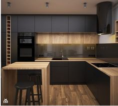 Dark kitchen, wood materials, units to the ceiling Kitchen Modular, Loft Kitchen, Kitchen Room Design, Kitchen Cabinet Design, Modern Kitchen Design, Home Decor Kitchen, Kitchen Living, Interior Design Kitchen, Kitchen Furniture