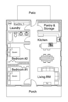 Custom home plans - The Small Kitchen Layout with Island Floor Plans Tiny House Diaries – Custom home plans Custom Home Plans, Home Design Plans, Custom Homes, The Plan, How To Plan, Kitchen Layouts With Island, Island Kitchen, Small House Floor Plans, 40x60 House Plans