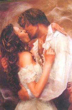Christine and Eric's kiss in The Phantom of the Opera ♡ Amor Romance, Romance Art, Romance Novel Covers, Romance Novels, Romantic Images, Romantic Couples, Exposition Multiple, Opera Ghost, Fantasy Couples