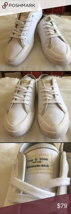 Rag And Bone Standard Issue sneakers Rag And Bone Standard Issue sneakers - white canvas with gray leather trim and White leather lined insoles . Lightly worn and in great used condition. Euro size 43 which is a 10 US Rag and Bone Shoes Sneakers