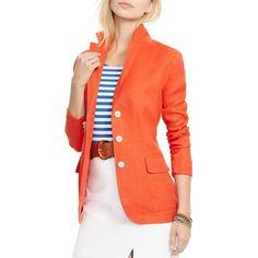 Lauren Ralph Lauren Herringbone Blazer (2 430 SEK) ❤ liked on Polyvore featuring outerwear, jackets, blazers, bright pop, linen blazer, ralph lauren jacket, ralph lauren blazer, light weight jacket and ralph lauren