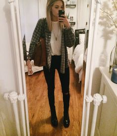 simple flannel + white sheer shirt + ripped knee black skinny jeans