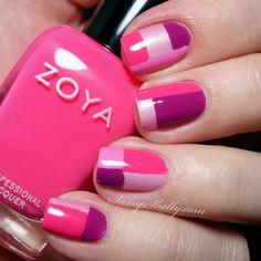 Sassy Shelly: Nails and Attitude: Digit-al Dozen DOES Monochrome Day 3: Pink Zoya Color-Blocking