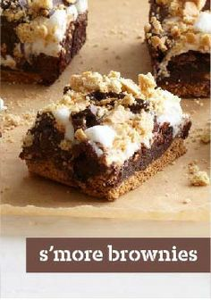 S'more Brownies – This brownie recipe leaves you with gooey, rich and chocolatey brownies that will have 'em camped out in the kitchen.