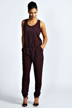 Love jumpsuits in winter! Sophie Racer Zip Back Woven Jumpsuit at boohoo.com #jumpsuits
