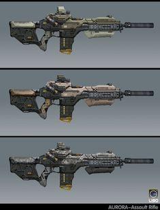Assault rifle Design for the RISING FIRE, Jay Li on ArtStation at https://www.artstation.com/artwork/z65Z2