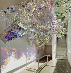Soo Sunny Park, creates sculptures from rainbow iridescent Perspex and light-reflecting tiles