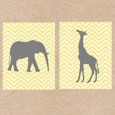 Chevron Jungle Animals Nursery Wall Art DIY Printable in Gray and Yellow by DecorableDesigns