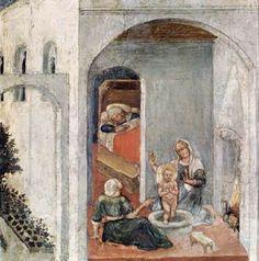 Gentile da Fabriano - Polittico Quaratesi: La nascita di San Nicola (predella) - 1425 - Pinacoteca, Vaticano
