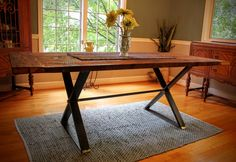 X-Base Farmhouse Table with rustic reclaimed wood tabletop Farmhouse Table, Tabletop, Office Desk, Lounge, Base, Rustic, Wood, Furniture, Home Decor