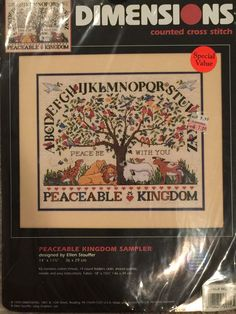 """Dimensions Peaceable Kingdom Sampler Counted Cross Stitch Kit 14"""" X 11.5' Lion  #Dimensions #Sampler"""