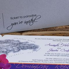 Boarding Pass Invitation - Ticket to Paradise.  I like the map on the invite