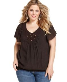 AGB Plus Size Top, Short Sleeve Crochet Peasant - Plus Size Tops - Plus Sizes - Macy's
