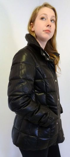 Marc New York Andrew Marc Soft Leather Down Puff Jacket Coat Women's M Pristine!