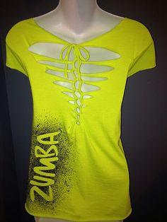 ZUMBA NEW COSMIC T,Shirt Neon Green OSFA Customized Back ***CUTE DESIGN