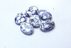 Oval Howlite Beads in White With Blue Veins by BeadsFromHaven, $0.75