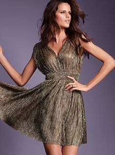 Maybe for New Years Eve? Metallic V-neck Dress $89