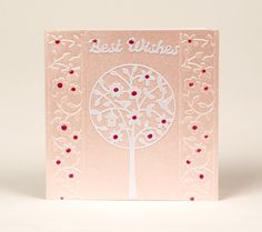 Marion South's pretty pink card using the Lollipop Tree die, free with issue 9 of Die-Cutting Essentials! Available at www.moremags.com