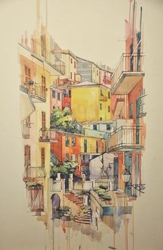Nice narrow street in watercolor