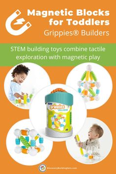 Discovery Building Sets offers magnetic blocks for toddlers from the award-winning Grippies ® family. The soft-touch magnetic rods and balls combine tactile exploration with magnetic play. As part of a STEM building system, our construction toys for toddlers will inspire your young architect. Magnetic building toys give toddlers the power to imagine, create, and build. Try these magnetic STEM toys for toddlers and create some magic? #DiscoveryBuildingSets Construction Toys For Toddlers, Building Toys For Toddlers, Blocks For Toddlers, Magnetic Toys, Block Play, Building Systems, Interactive Toys, Language Development, Toddler Toys