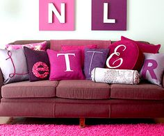 Creative Home Decor Monogram Crafts. This monogram wall letters would be super cute in girls room. And pillows like this would be so fun too!
