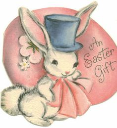 Bunny and Pink Egg vintage Easter gift card Easter Art, Easter Crafts, Vintage Greeting Cards, Christmas Greeting Cards, Easter Parade, Easter Celebration, Vintage Holiday, Bunny, Swallows