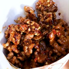 Spiced roasted walnuts with honey, prepared in the oven. Makes a deiciously exciting sweet snack! Easy, healthier and comes together quickly & effortless. Spicy Walnuts, Roasted Walnuts, Candied Walnuts, Honey Glazed Walnuts Recipe, Pecans, Walnut Recipes, Honey Recipes, Spicy Recipes, Healthy Recipes