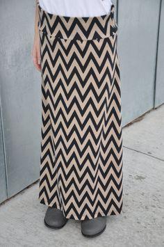 chevron maxi, tan, maxi skirts