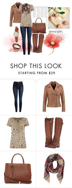 """""""Good as Gold"""" by sally-morin ❤ liked on Polyvore featuring Sandro, Oui, Naturalizer, Fendi, Kate Spade, women's clothing, women's fashion, women, female and woman"""
