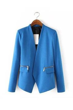 Blue Blazer With Zipper Details - US$29.95 -YOINS