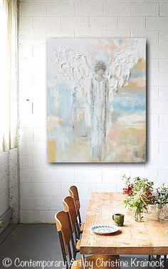 GICLEE PRINT Art Abstract Angel Painting Canvas Print Oil Painting Home Decor Wall Decor Spiritual White Blue Beige Pastel - Christine - Photography İdeas,Photography Poses,Photography Nature, and Vintage Photography, Angel Wings Art, Angel Art, Wall Art Prints, Canvas Prints, Canvas Art, Painting Canvas, Blue Canvas, Painting Trees, Painting People
