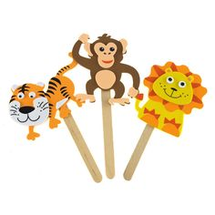 DIY Foam Character Stick Puppets - Jungle Pals