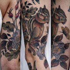 amazing chipmunk tattoo from wonderland PDX