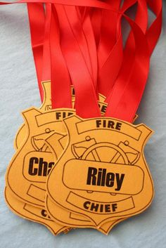 Fire Chief Gold and Red Badges for Firetruck Inspired Birthday – Kinder Fireman Party, Firefighter Birthday, Fireman Sam, 4th Birthday Parties, Boy Birthday, Third Birthday, Fire Trucks, Fire Engine, Firefighters