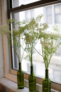 Queen Anne's Lace is ideal for casual summer decorating. As seen above, you can simply gather a few stems into wine bottles and have yourself a darling element to accompany dinner, a bedside table or a window sill.