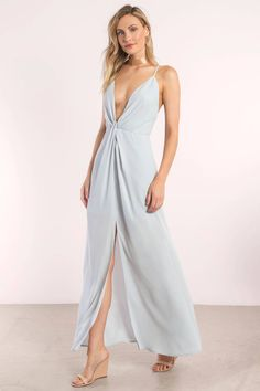 Get showered in compliments all night in the Eyes on You Knotted Maxi Dress. Featuring a sophisticated, plunging neckline and center tiny knot embelli Long Gown Dress, Draped Dress, Summer Wedding Outfits, Spring Outfits, Blue Bridesmaid Dresses, Wedding Dresses, Blue Maxi, Women's Fashion Dresses, Fashion Clothes