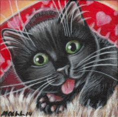 Black Kitten Valentine Painting
