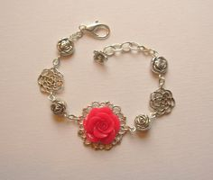 Villa Rose Bracelet  One of a Kind with Floral by blushingpixie, $32.00