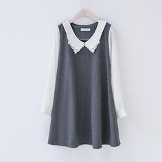 Buy 'J-ANN – Lace-Trim Contrast Collar A-Line Mini Dress' with Free International Shipping at YesStyle.com. Browse and shop for thousands of Asian fashion items from South Korea and more!