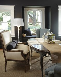 This Is A Great Space. Love The Use Of Two Different Chairs, Dark Wall