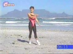 """Linda Kriel doing morning exercises on Bloubergstrand near Cape Town for the breakfast show """"Good Morning South Africa"""" circa Morning Exercises, Muffin Top, Anton, Workout Videos, Saddle Bags, Pilates, Beats, Sporty, Running"""