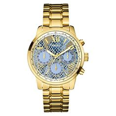 GUESS Womens U0330L13  Stainless Steel GoldTone MultiFunction Watch with Ice Blue PythonPrint Day Date  24 Intl Time *** Want to know more, click on the image.