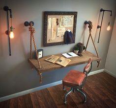 38 Attractive Industrial Bedroom Design Ideas For Unique Bedroom Style Decor Room, Diy Home Decor, Art Decor, Pipe Lighting, Lighting Ideas, Vanity Lighting, Club Lighting, Art Deco Lighting, Wall Lighting
