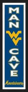 Framed University of West Virginia Mountaineers Man Cave banner.