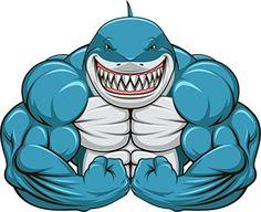 innagrom Muscular Shark Gym Home Decal Vinyl Sticker X Big Muscle Training, Graffiti, Gym Logo, Mascot Design, Great White Shark, Dorm Decorations, Bodybuilder, Vector Art, Pop Art