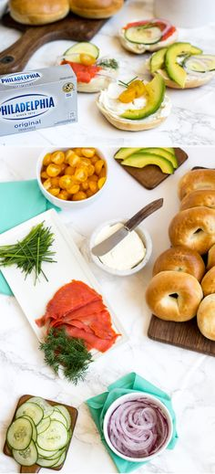 A build-your-own bagel bar is a perfect idea when entertaining guests. Keep things simple but delicious with this spread and your guests will be super impressed. Great for brunch or when hosting overnight guests!  @spreadphilly  #HostWithPhilly #CreamCheese #ad