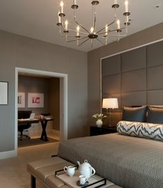 Modern & sleek master bedroom with a office attached. Love the colors and the idea of having the home office attached!
