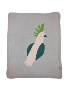 "Merino Baby Blanket ""Cockatoo Dreaming :  Newborn babies will love the super soft touch of this Australian bassinet blanket and it is sure to also become a favorite for snuggle time, tummy time, pram or cot."
